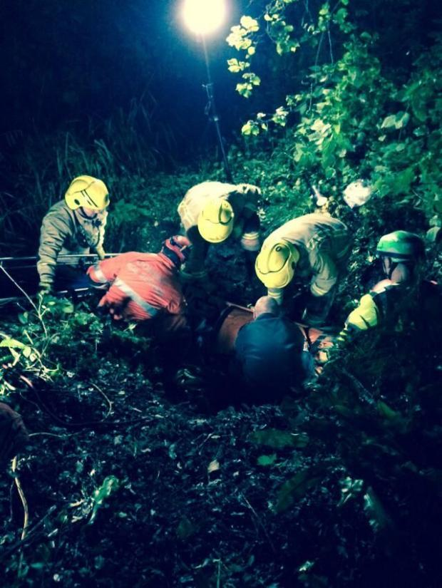 UPDATED WITH PICS: Man taken to hospital after falling 25 metres into a ditch in West Dorset